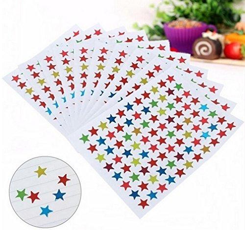 Glänzende Sterne Sticker für Kinder & Kalender zum markieren von Ereignissen , 10 Blatt Bunte Sterne ca. 850 Stück Tagebuchsticker 1cm   Aufkleber   Tagebuch   Kinder   Geschenk