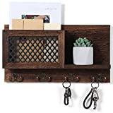 "Key and Mail Holder for Wall Decorative - Rustic Mail Organizer Wall Mount, Wooden Letter Sorter Organizer with 4 Key Rack Hooks for Hallway Kitchen Farmhouse Decor (16.5"" x 9.1"" x 3.4"")"