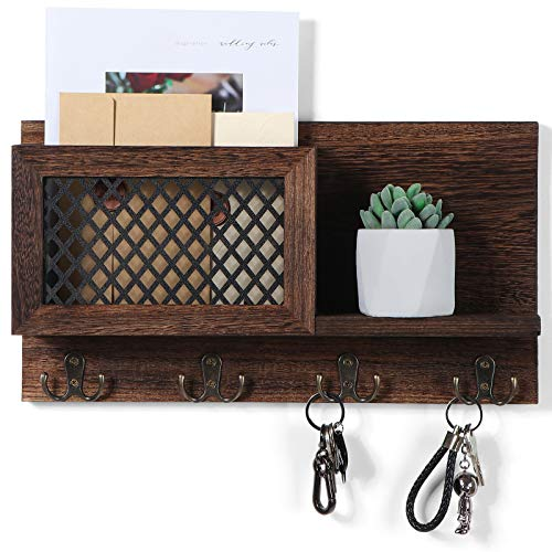 """Key and Mail Holder for Wall Decorative - Rustic Mail Organizer Wall Mount Wooden Letter Sorter Organizer with 4 Key Rack Hooks for Hallway Kitchen Farmhouse Decor 165"""" x 91"""" x 34"""""""
