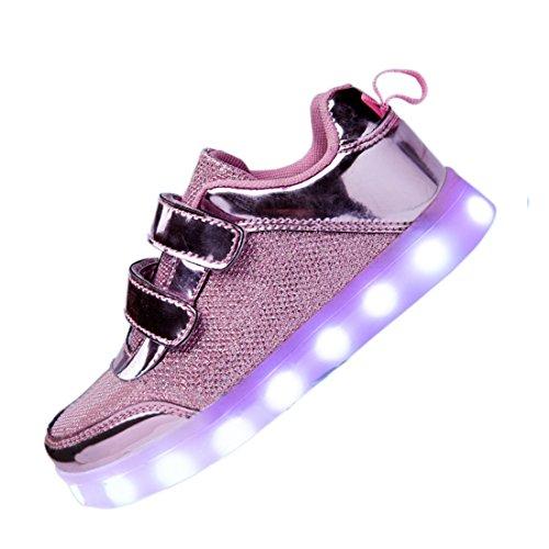 DoGeek Zapatos LED Niños Niñas Negras Blanco 7 Color USB Carga LED Zapatillas Luces Luminosos Zapatillas LED Deportivos para Hombres Mujeres (Elegir 98 Tamaño Más Grande)