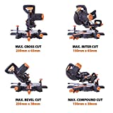 Evolution Power Tools R210SMS+ Sliding Mitre Saw With Multi-Material Cutting, 45° Bevel, 50°