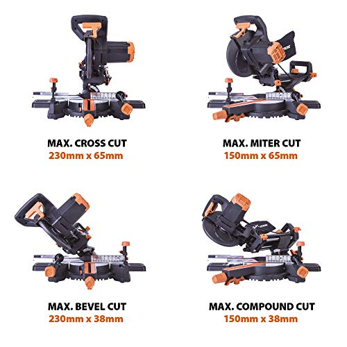 Evolution Power Tools R210SMS+ Sliding Mitre Saw With Multi-Material Cutting, 45° Bevel, 50° Mitre, 230mm Slide, 1500 W, 230 V