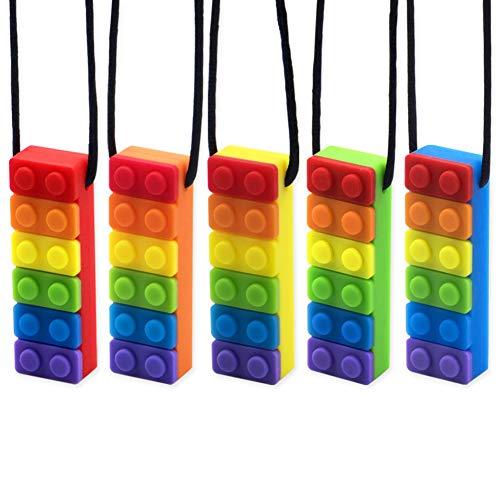 Collar sensorial para masticar, paquete de 5 colgantes de silicona de color arcoíris para masticar para masticar juguetes para bebés con dentición,autismo TDAH SPD,motor oral,ansiedad, niños autistas
