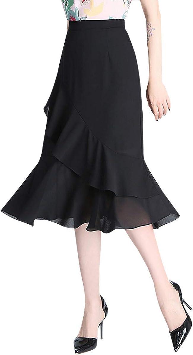 Women's Summer Elastic Waist Floral Print Midi A-line Casual Chiffon Skirt with Ruffles