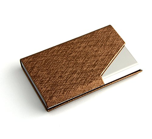 Partstock(TM) New Style Cross Pattern PU Leather and Stainless steel Business Name Card Holder Wallet Leather Credit card ID Case/Holder 25 Name Cards Case with Magnetic Shut.(Cinnamon)