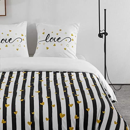 10 Styles Sets de Housse de Couettes 220x240cm + 2 taies d'oreillers 65x65cm Parure de Lit Imprimé Multicolore pour 2 Personnes Motif 5