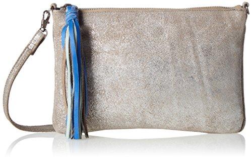 PIECES Damen Pcsolange Leather Cross Body Schultertasche, Silber (Silver Colour), 2x19x28 cm