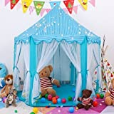 Princess Fairy Tale Castle Play Tent,Portable Fun Perfect Hexagon Playhouse Toys 55'x53'(DxH) Blue with LED Lights,X-Large