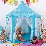 Miyaya Princess Fairy Tale Castle Play Tent,Portable Fun Perfect Hexagon Playhouse Toys 55'x53'(DxH) Blue with LED Lights,X-Large