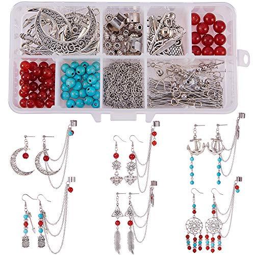 SUNNYCLUE 1 Caja Pendiente de Bricolaje Fabricación de Joyas Kit de Inicio-Make 6 Pairs Acero Inoxidable Cuelga Stud Stud Ear Cuff Cadena Borla Wrap Pendientes Ear Clip