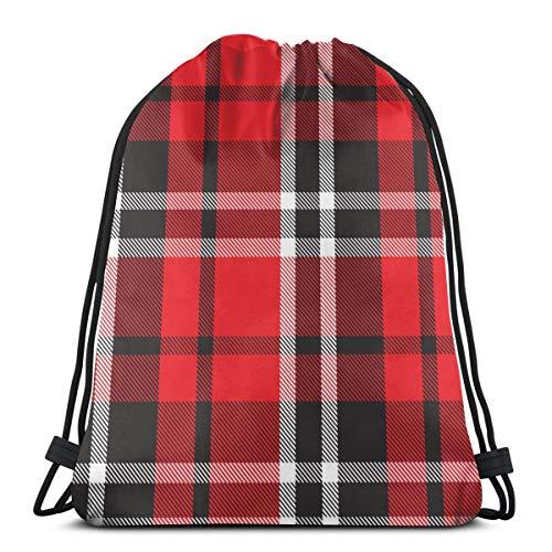Osmykqe Sacs à Cordon Coloré Plaid Seamless Pattern Fond Sac à Dos résistant à l'eau Black College School Work Daypack pour garçons Hommes Femmes
