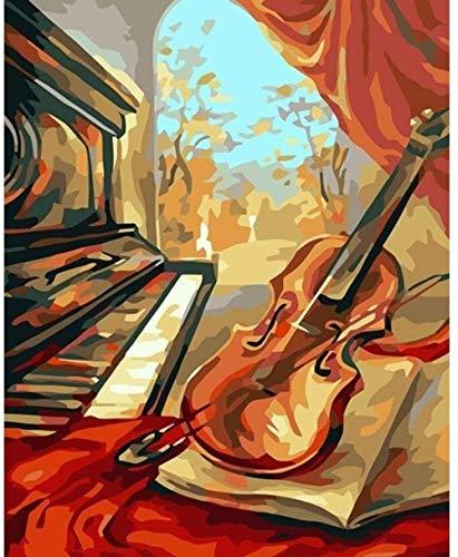 ZJZNB schilderen op nummers, knutselen, piano, meisjes, doek, handbeschilderd, olieverfschilderij, decoratie (40 x 50 cm) H