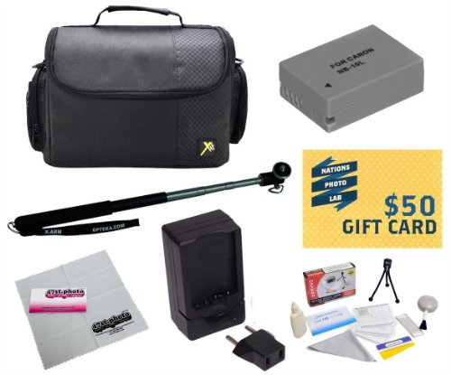 47th Street Photo Best Value Point & Shoot Accessory Starter Kit for Canon PowerShot G15 G16 G1X Digital Camera Includes Extended Replacement NB-10L Battery + AC/DC Travel Charger + Self Portrait Monopod + Mini tripod + Deluxe Carrying Case + Screen Protectors Photo Print ! Deluxe Cleaning Kit + More