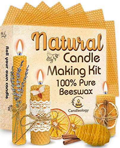 Candle Making Kit Beeswax - 22 Pcs ALL-INCLUSIVE DIY Candle Making Kit for Adults and Kids - Candle Making Supplies DIY Candle Maker - Beeswax Candle Making Kit - Candle Starter Kit Beeswax Candle Kit