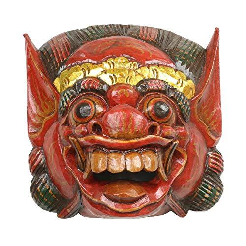 Oriental Galerie Barongmaske Maske Barong balinesische Mythologie Drachenmaske Bali Rangda Ubud Asien Gute Geister traditionell ca. 25 cm Holz, Farbe:Rot