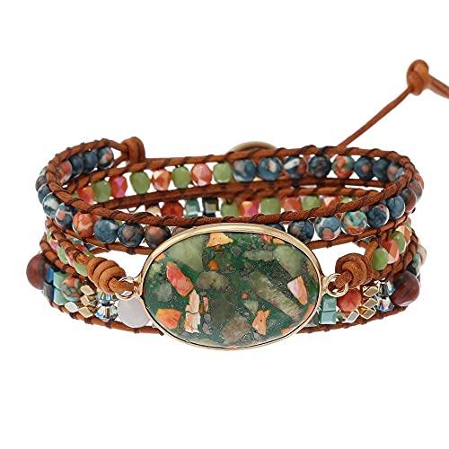 Pulseras de cristal natural para hombre mujer Pulsera tribal bohemia: jaspe natural Cristal de cuero con cuentas de cuero de cristal de corona de cristal pulsera pulsera de cuero genuino piedras preci