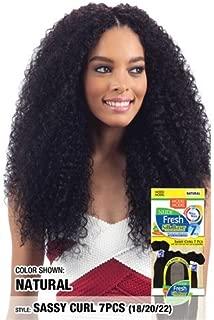 Model Model Nude Fresh Wet & Wavy 100% Unprocessed Brazilian Virgin Remy Hair Weave - SASSY CURL 7pcs (18/18/20/20/22/22+Silk Base Closure), NATURAL