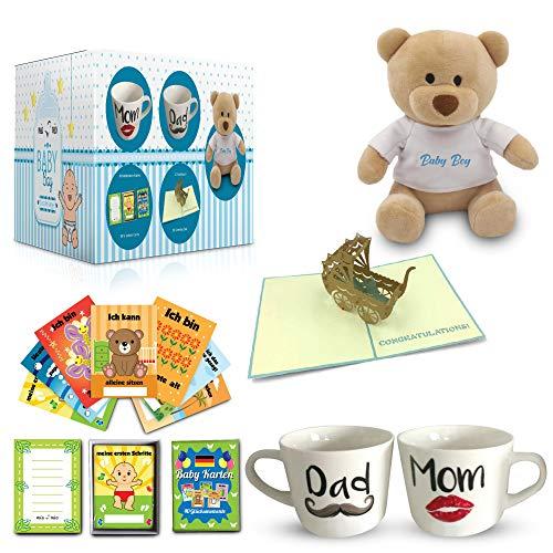 Mia Mio – prezent z okazji narodzin/dziecka | filiżanki + 40 kart z kamieniami milowymi + miś + kartka z życzeniami (niebieski)