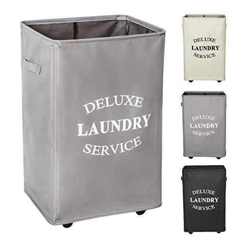 Chrislley 90L Wäschesammler rollender Wäschekorb mit Rädern Großer Faltbare Wäschekorb für zusammenklappbare Wäschekörbe auf Rädern (grau)
