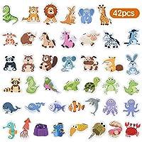 Materiale: schiuma. Include 42 animali magnetici. Ogni pezzo misura circa 5 cm * 5 cm. Buoni giocattoli educativi per bambini per imparare animali. Come tartaruga, pecore, zebre, balene e così via. Vieni con la scatola.