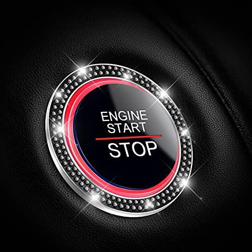 2 Pack Car Bling Crystal Rhinestone Engine Start Ring Decals, Car Push Start...