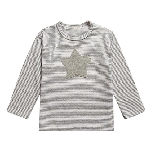 kingko® Infant Toddler Enfants de Fille de bébé à Manches Longues étoiles T-Shirt imprimé Tops Vêtements (3T, Gris)