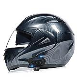 OPRG Casco Moto Integral Carbono ECE Homologado Casco De Moto Scooter para Mujer Hombre Adultos con Doble Visera Negro,A,L
