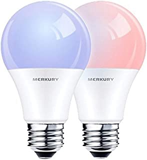 Merkury Innovations Smart Wi-Fi LED Color Light Bulbs 2-Pack COMPATIBLE w/ALEXA and GOOGLE HOME