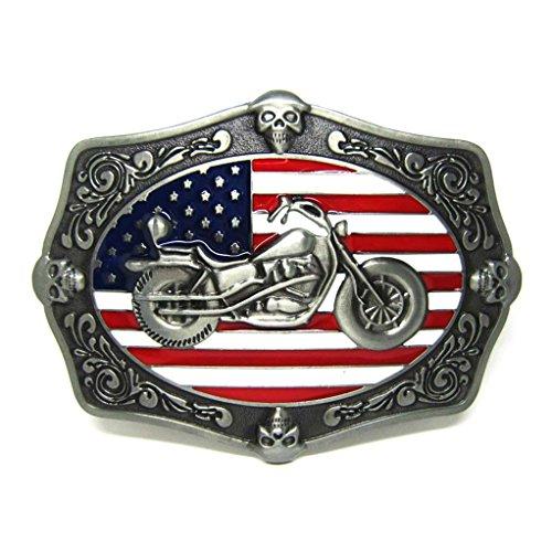 MASOP Motorcycle Skull Decoration American Flag Belt Buckle Antique Vintage