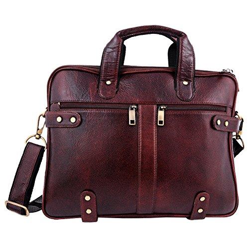 ZINT Men's Pure Leather Brown Laptop Bag Office Bag/Messenger Bag/Portfolio Bag/Gift for HIM