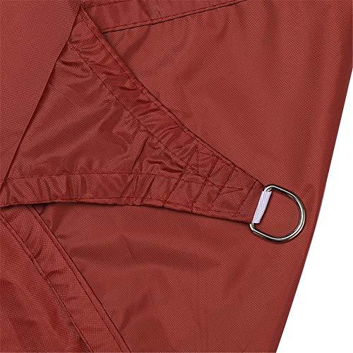 LIANHUI - Parasol triangular impermeable para exteriores, jardín, terraza, patio, fiesta, con cuerda (2,4 x 2,4 x 2,4 m, color rojo oxidado)