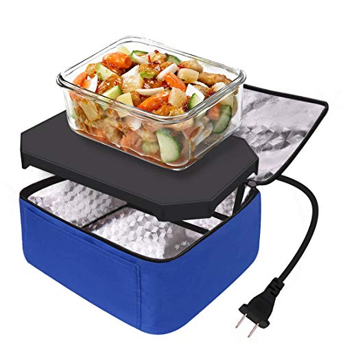 Portable Food Warmer Heated Lunch Boxes Mini Oven Personal Microwave Tote Prepared Meals Reheat & Raw Food Slow Cooker in Home/Office/Kitchen by Aotto(110V,Blue)