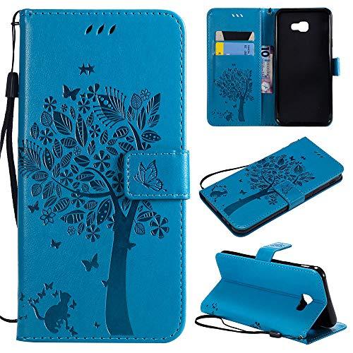 Capa carteira para Galaxy J4 Core de couro PU para gatos e árvores com flip 3D em relevo com suporte para cartão de crédito e alça de pulso para Samsung Galaxy J4 Core, azul