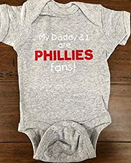 My Daddy and I are Phillies fans baby one piece Philadelphia bodysuit Bryce Harper