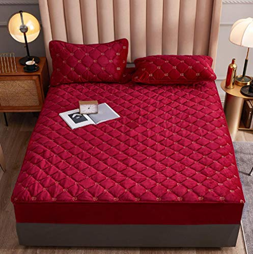 antiácaros Protector de colchón,Funda de colchón de franela suave y cómoda Bordado de terciopelo de color sólido Protector cálido grueso Sábana ajustable Fundas de cama elásticas-D_120x200+30cm