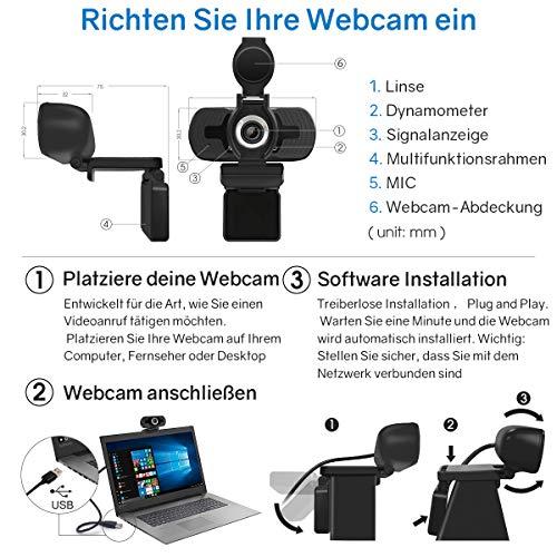 LarmTek Full Hd Webcam 1080p Videokamera mit Webcam Abdeckung,USB Webcam mit Eingebautes Mikrofon,Mini Plug and Play für Desktop,Notebook,ideal für Konferenzen,Live Übertragungen und Videoanruf