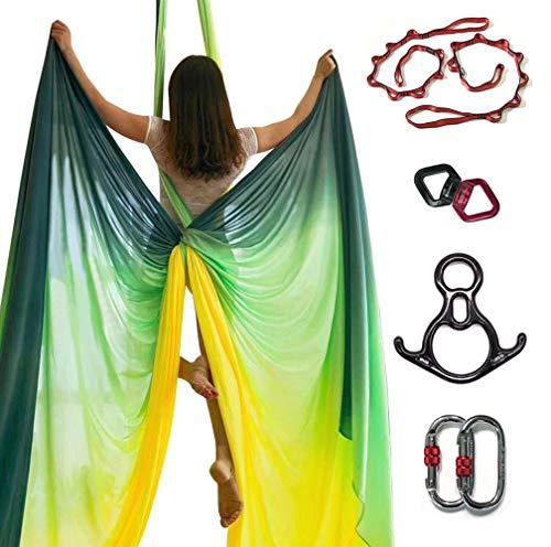 E-Bestar 10M Premium Aerial Silks Equipment Aerial Yoga Hammock Set Yoga Set Safe Deluxe Aerial Kit Antigravity yoga Swing Aerial Silk (Multi color-B)