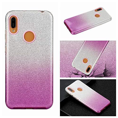 Nadoli für Samsung Galaxy A20/30 Gradient Glitzer Hülle,3 Schicht Glänzende Stoßfest Silikon Stoßdämpfung Transparent Hart Hybride Dünn Glitzer Schutzhülle Handyhülle