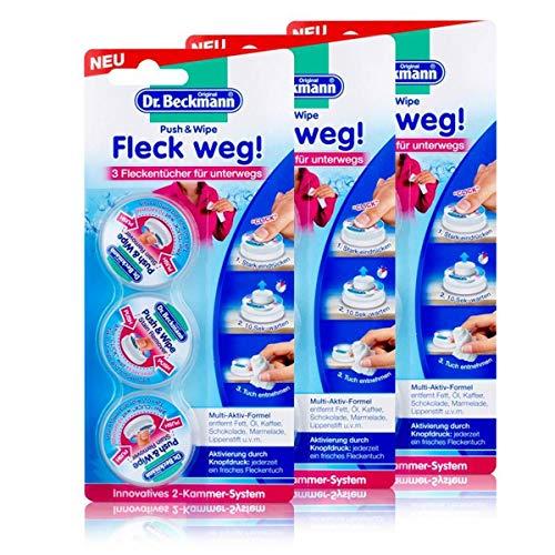 Dr. Beckmann Push & Wipe, Fleckentücher für unterwegs, 3er Pack (3 x 12 ml)