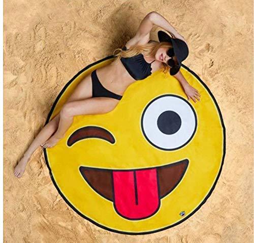 Vanzelu 1 Pc Grappige Emoji Ronde Strandhanddoek Picknick Deken Zonnebaden Badmat Zonnebrandcrème Sjaal Zwemmen Cover Zomer Handdoeken badhanddoek 150x150cm Outdoor
