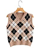 Women Streetwear Preppy Style Knitwear Tank Top Argyle Plaid Knitted Sweater Vest Waistcoat Clothes (Brown, One Size)