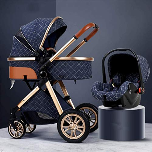 Foldable Baby Buggy 3 in 1 Baby Stroller Carriage Lightweight Pushchair Stroller Shock Absorption Springs High View Pram Baby Stroller with Stroller Rain Cover, Footmuff, Mom Bag (Color : Blue)