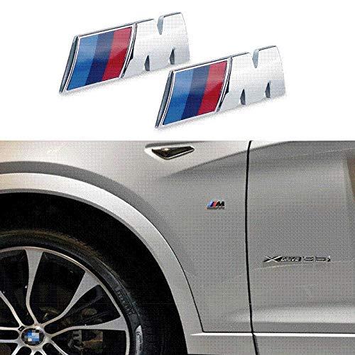 ITB 2X Stemma Emblema Adesivo Laterale in Metallo Coppia Compatibile per Serie M Sport 1 3 4 5 6 7 M3 M5 M6 Z3