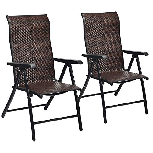 Cypress Shop Rattan Reclining Chair Folding Patio Lounge Chaise Recliner Seat Adjustable Armrest Beach Chairs Breathable Steel Frame Weather Resistant Leisure Time Porch Side Pool Seat Yard Set 2