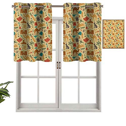 Hiiiman Grommet Top Blackout Curtain Valance Window Treatment Civilizations Travel Theme Archeological Elements Pyramids Camels Queens, Set of 2, 42'x24' for Living Room, Short Straight Drape Valance