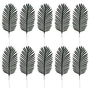 KESYOO Artificial Palm Leaves Tropical Leaves Decor Leaf Stems Picks Summer Party Flower Arrangement for Jungle Luau Hawaiian Party Birthday Wedding Supplies Green 10pcs
