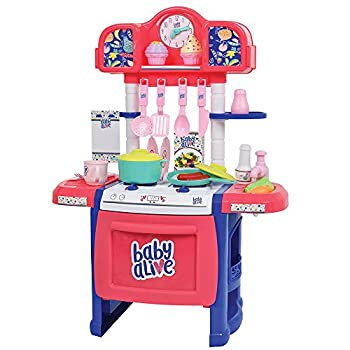 Baby Alive Doll Kitchen with 21 Assorted Play Pieces Interactive Stove and a Real Working Water Pump with Sink