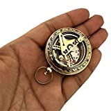 Paradise Nauticals Brass Pocket Magnetic Sun Dial Map Type Compass (Gold Brass)