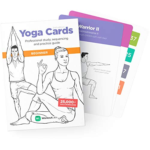 WorkoutLabs Carte di Yoga in plastica con linguaggio sanscrito per Lo Studio visivo per Principianti, sequenziamento di Classi, Pratica con Posture, Esercizi di respirazione e Meditazione