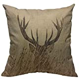 VERSUSWOLF Throw Pillow Covers Antler Whitetail Deer Fawn in Wilderness Stag Countryside Rural Hunting Theme Brown Sand Brown Cotton Linen Decorative Square Pillowcases Cushion Cover 18 X 18 Inch